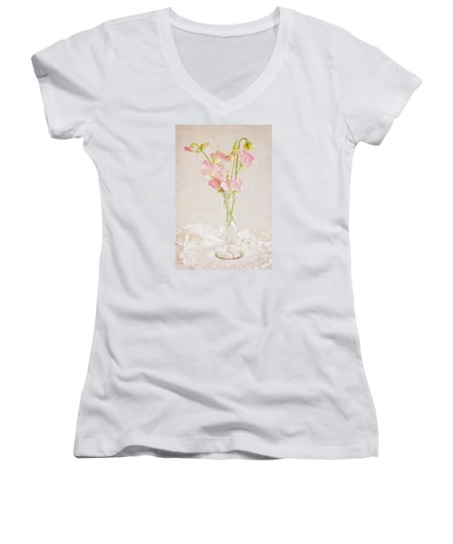 Old Fashioned Sweet Peas Women's V-Neck T-Shirt (Junior Cut) by Sandra Foster