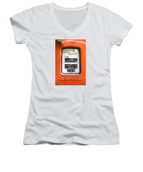 Women's V-Neck T-Shirt (Junior Cut) featuring the photograph Old Gas Pump by Tom Singleton