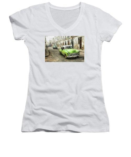 Old Green Car Women's V-Neck