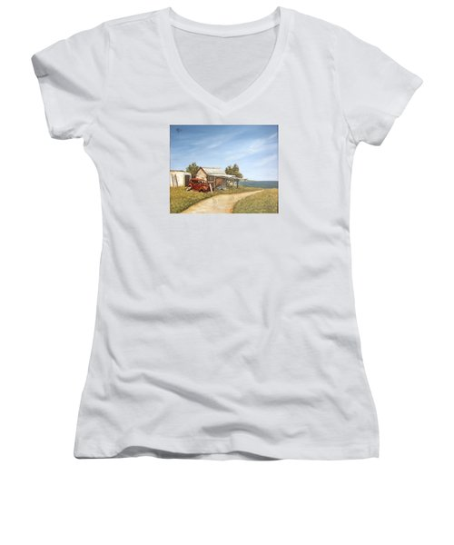 Women's V-Neck T-Shirt (Junior Cut) featuring the painting Old House By The Sea by Natalia Tejera