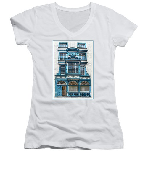 Women's V-Neck T-Shirt featuring the digital art Old Irish Architecture by Hanny Heim