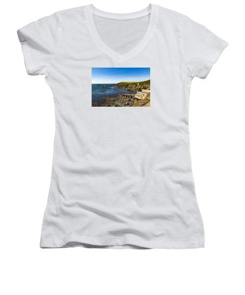 Old Life Boat Station Women's V-Neck T-Shirt (Junior Cut) by Brian Roscorla