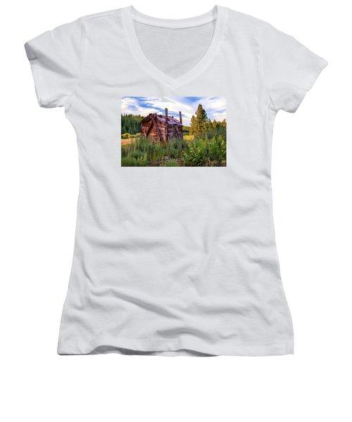 Old Lumber Mill Cabin Women's V-Neck T-Shirt (Junior Cut) by James Eddy