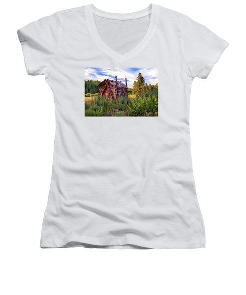 Old Lumber Mill Cabin Women's V-Neck (Athletic Fit)