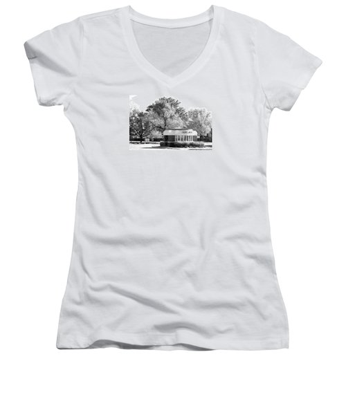 Old Main Gate Women's V-Neck T-Shirt (Junior Cut) by John Freidenberg