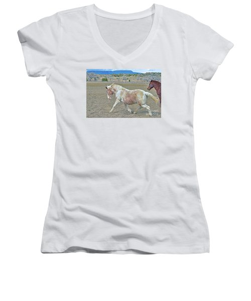 Women's V-Neck T-Shirt (Junior Cut) featuring the photograph Old Mare by Debby Pueschel