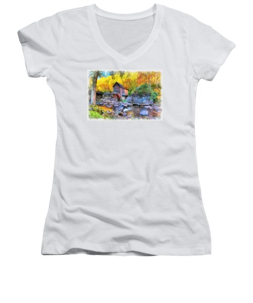 Old Mill Aquarelle Women's V-Neck (Athletic Fit)