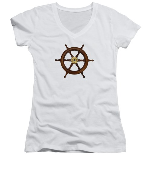 Old Oak Steering Wheel For Boats And Ships Women's V-Neck T-Shirt