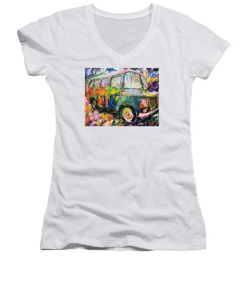 Old Paint Car Women's V-Neck (Athletic Fit)