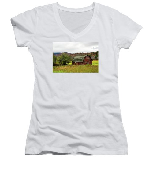 Women's V-Neck T-Shirt (Junior Cut) featuring the photograph Old Red Adirondack Barn by Nancy De Flon