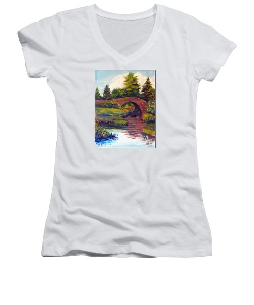 Women's V-Neck T-Shirt (Junior Cut) featuring the painting Old Red Stone Bridge by Jim Phillips
