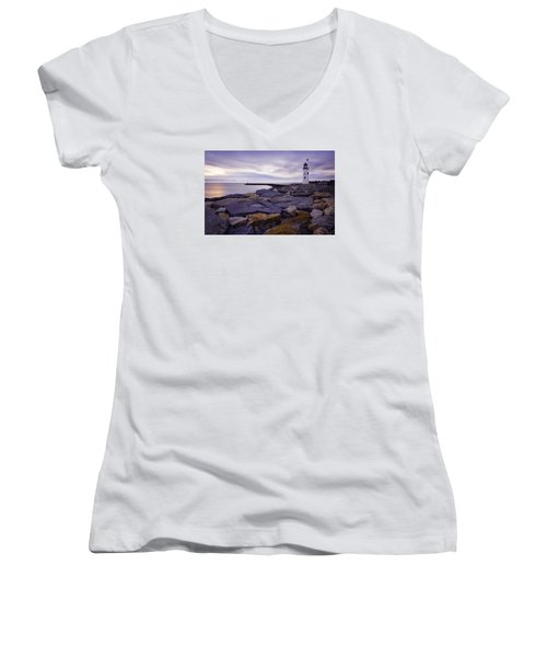 Old Scituate Light At Sunrise Women's V-Neck (Athletic Fit)