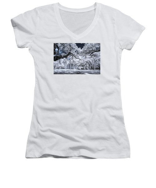 Old Sheldon Church In Infrared Women's V-Neck (Athletic Fit)