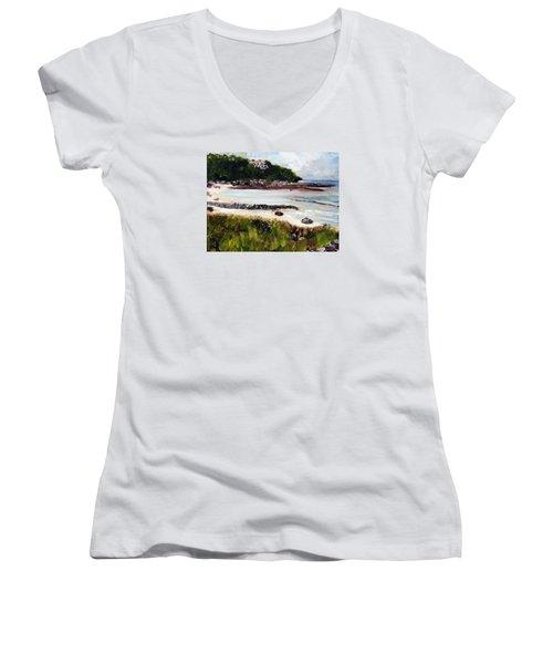 Old Silver Beach Falmouth Women's V-Neck T-Shirt (Junior Cut) by Michael Helfen