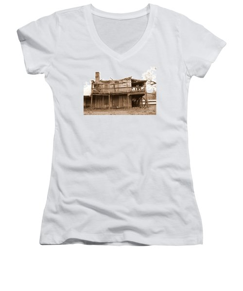 Old Stagecoach Stop Women's V-Neck T-Shirt (Junior Cut) by Marie Neder