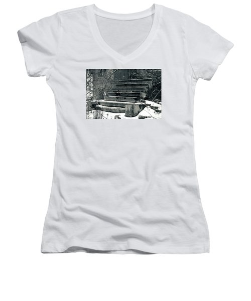 Old Stairs To Nowhere Women's V-Neck T-Shirt (Junior Cut) by Jeff Severson