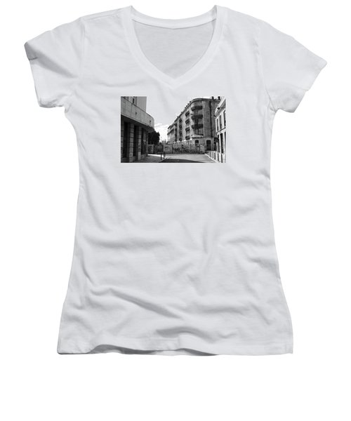 Women's V-Neck T-Shirt (Junior Cut) featuring the photograph Old Town Neighborhood In The Black And White Of Blight by Lorraine Devon Wilke