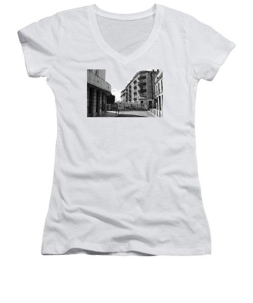 Old Town Neighborhood In The Black And White Of Blight Women's V-Neck T-Shirt
