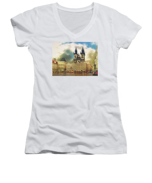 Old Town Square Prague In The Rain Women's V-Neck
