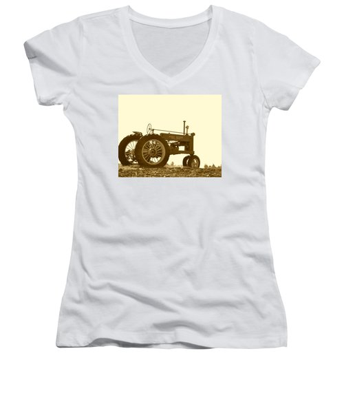 Old Tractor IIi In Sepia Women's V-Neck T-Shirt (Junior Cut)