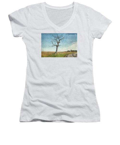 Old Tree  Women's V-Neck T-Shirt (Junior Cut) by Betty Pauwels
