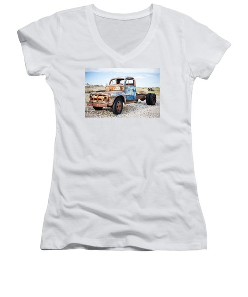 Women's V-Neck T-Shirt (Junior Cut) featuring the photograph Old Truck by Silvia Bruno