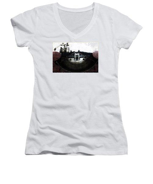 Old Typewriter Machine In Grunge Style Women's V-Neck T-Shirt (Junior Cut) by Michal Boubin