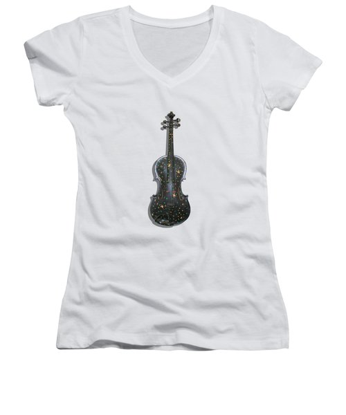 Old Violin With Painted Symbols Women's V-Neck T-Shirt