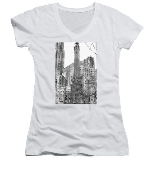 Old Water Tower - Chicago Women's V-Neck