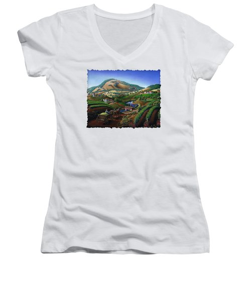 Old Wine Country Landscape - Delivering Grapes To Winery - Vintage Americana Women's V-Neck T-Shirt (Junior Cut) by Walt Curlee