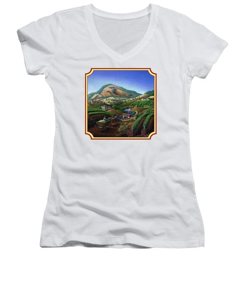 Old Wine Country Landscape Painting - Worker Delivering Grape To The Winery -square Format Image Women's V-Neck T-Shirt