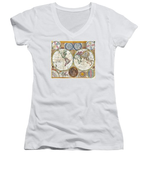 Old World Map Print From 1794 Women's V-Neck