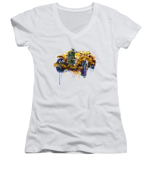 Oldtimer Automobile In Watercolor Women's V-Neck (Athletic Fit)