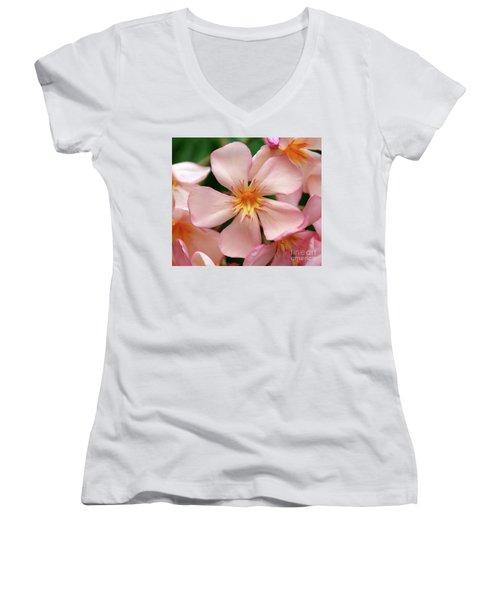Women's V-Neck T-Shirt (Junior Cut) featuring the photograph Oleander Dr. Ragioneri 1 by Wilhelm Hufnagl