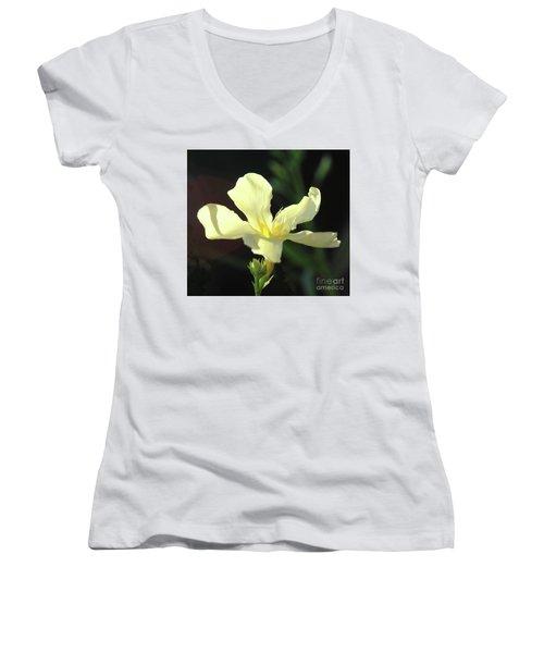 Oleander Marie Gambetta 1 Women's V-Neck T-Shirt (Junior Cut) by Wilhelm Hufnagl