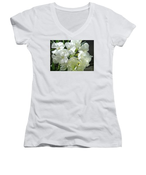 Oleander Mont Blanc 2 Women's V-Neck T-Shirt (Junior Cut) by Wilhelm Hufnagl