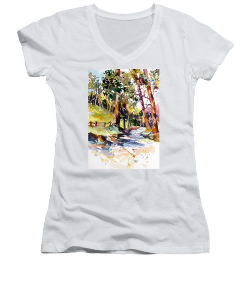 Women's V-Neck T-Shirt (Junior Cut) featuring the painting Olinda Trees Maui 2 by Rae Andrews