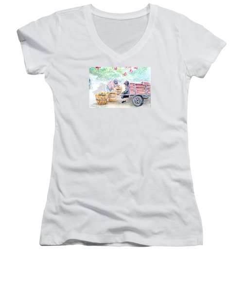 Women's V-Neck T-Shirt (Junior Cut) featuring the painting Olive Pickers by Marilyn Zalatan