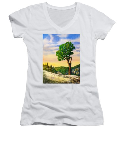 Olmsted Point Tree Women's V-Neck T-Shirt (Junior Cut) by Douglas Castleman