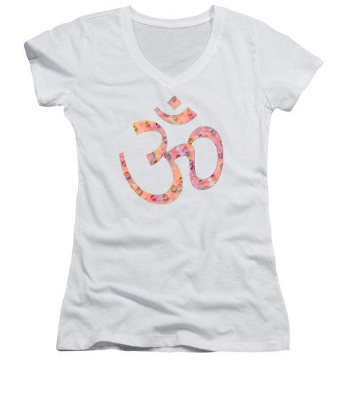 Om Symbol Digital Painting Women's V-Neck T-Shirt (Junior Cut) by Georgeta Blanaru
