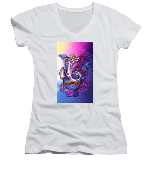Omkareshvar Ganesha Women's V-Neck