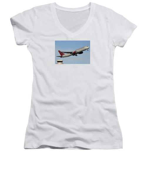 Omni Air International Boeing 767-319 N396ax Phoenix Sky Harbor January 2 2015 Women's V-Neck T-Shirt (Junior Cut) by Brian Lockett