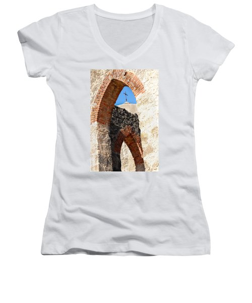 Women's V-Neck T-Shirt (Junior Cut) featuring the photograph On A Mission by Debbie Karnes