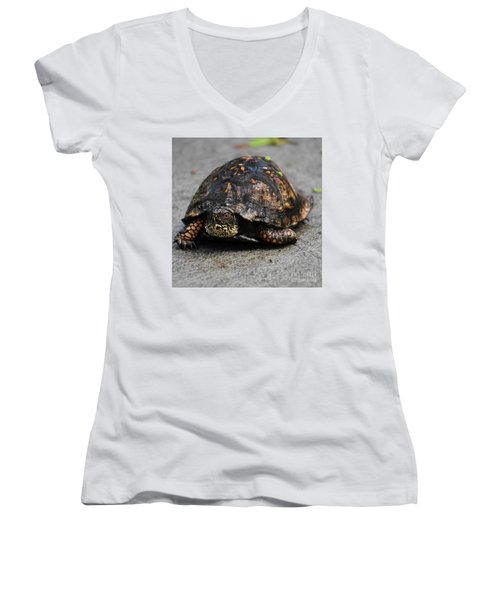 Women's V-Neck T-Shirt (Junior Cut) featuring the photograph On A Mission by Skip Willits
