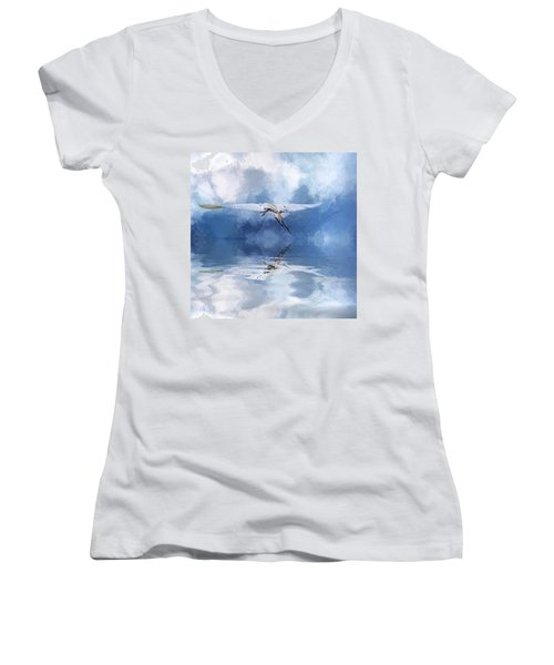 On A Wing And A Prayer Women's V-Neck T-Shirt (Junior Cut) by Cyndy Doty