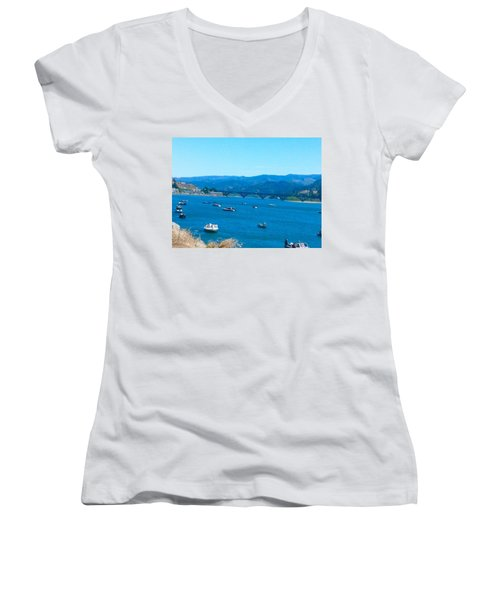 On Board For Fun  Women's V-Neck T-Shirt (Junior Cut)