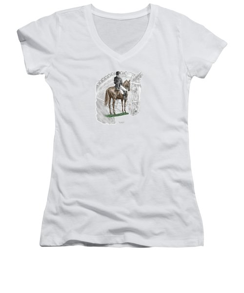 On Centerline - Dressage Horse Print Color Tinted Women's V-Neck T-Shirt (Junior Cut) by Kelli Swan