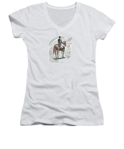 On Centerline - Dressage Horse Print Color Tinted Women's V-Neck (Athletic Fit)
