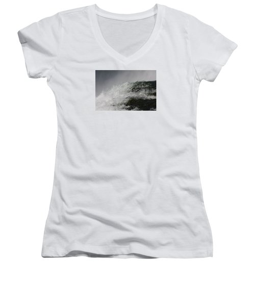 Women's V-Neck T-Shirt (Junior Cut) featuring the photograph On Edge by Vadim Levin