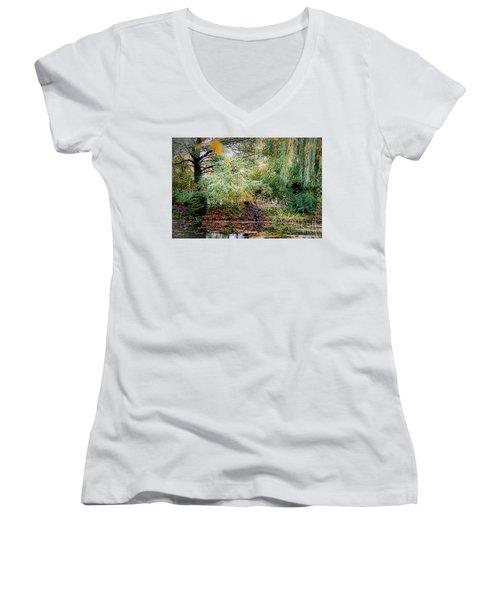 Reflection On, Oscar - Claude Monet's Garden Pond Women's V-Neck